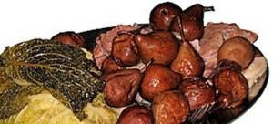 potdeurmekare met stoofperen, kool en veel vlees
