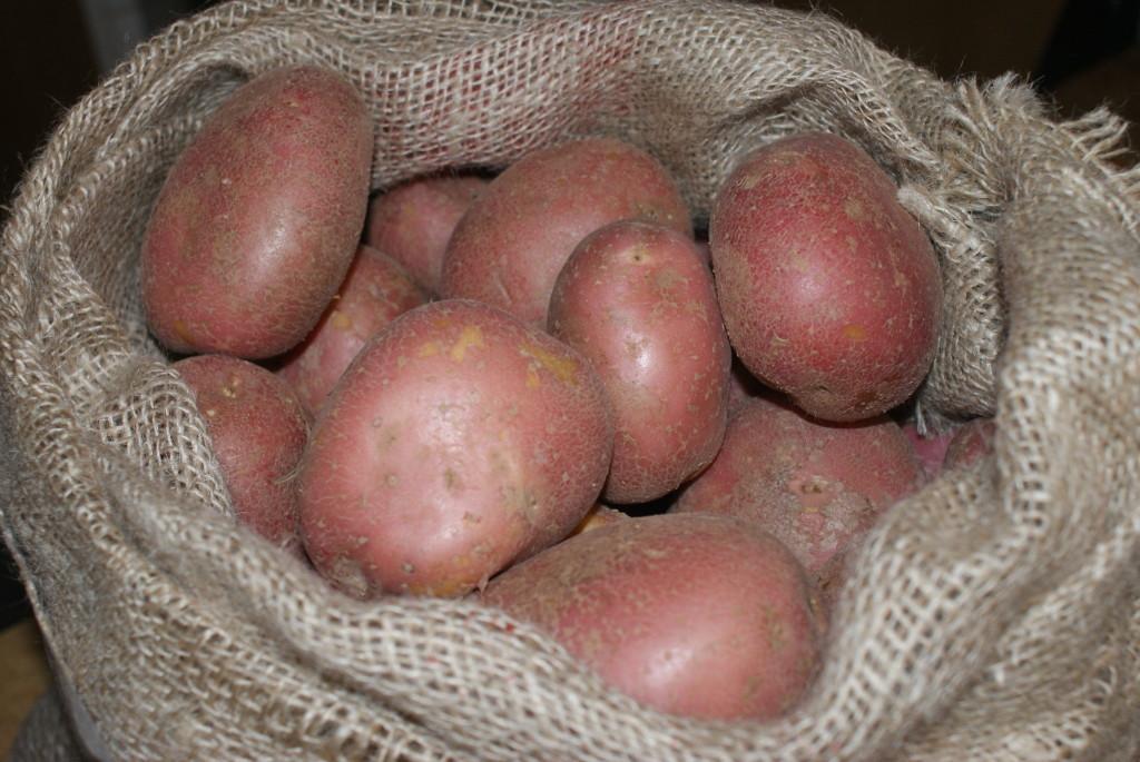 aardappels in zak blauwe