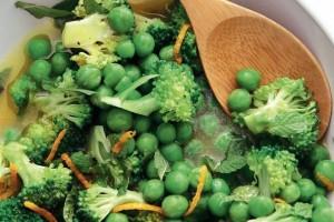 doperwten, brocolli en munt