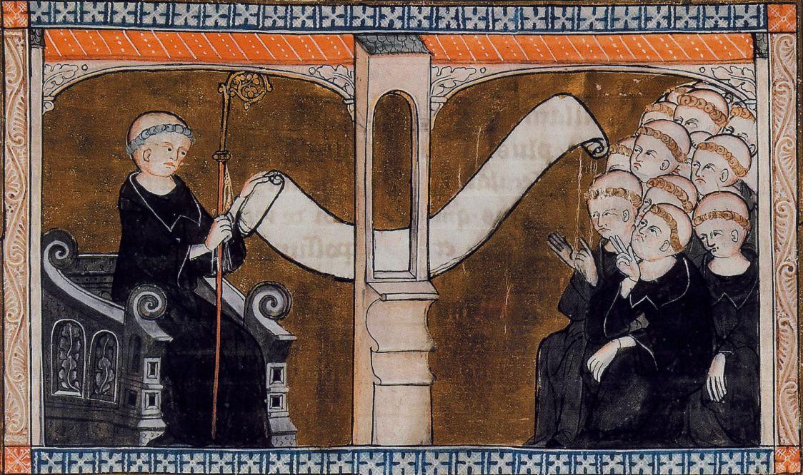 De Regels van Benedictus worden door de Abt voorgelezen