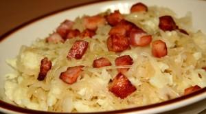 zuurkool spekjes aardappel