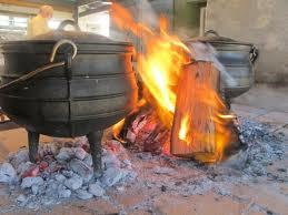koken in open vuur
